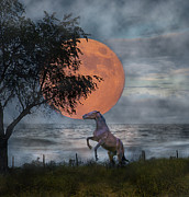 Sea Moon Full Moon Digital Art Posters - Claiming the Moon Poster by Betsy A Cutler East Coast Barrier Islands