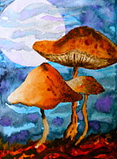 Blue Mushrooms Painting Posters - Claiming the Moon Poster by Beverley Harper Tinsley