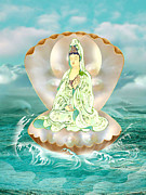Kwan Yin Framed Prints - Clam-sitting Avalokitesvara Framed Print by Lanjee Chee