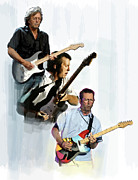 Music Drawings Framed Prints - Clapton Eric Clapton Framed Print by Iconic Images Art Gallery David Pucciarelli