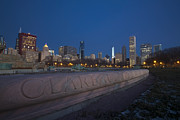 Chicago Fountain Prints - Clarence Buckingham fountain in the winter at dawn Print by Sven Brogren