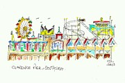 Rides Drawings - Clarence Pier - Southsea by Chris Webb