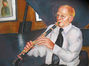Tim Pastels Posters - Clarinet at Palm Court Poster by Beverly Boulet