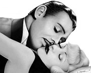 Graphite Drawings Drawings Posters - Clark Gable and Carole Lombard Poster by Charles Champin