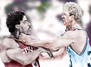 Larry Bird Painting Framed Prints - Clash Of The Titans 1984 - Bird and Doctor  J Framed Print by Reggie Duffie