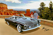 T-bird Painting Framed Prints - Classic 1955 Thunderbird at Bryce Canyon black  Framed Print by John Samsen