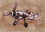 Charcoal Mixed Media - Classic airplane in world war 2 - Stylised modern drawing art sketch by Kim Wang