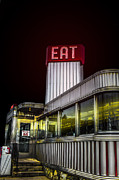 Nightime Prints - Classic American diner at night Print by Diane Diederich