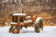 Snow Drifts Framed Prints - Classic Antique Tractor Framed Print by Dancasan Photography