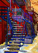 Verdun Winter Scenes Framed Prints - Classic Blue Winding Staircase Montreal Winter City Scene Painting  By Carole Spandau Framed Print by Carole Spandau