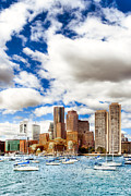 Red Buildings Digital Art Posters - Classic Boston Skyline From The Water Poster by Mark E Tisdale
