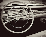 Mad Men Framed Prints - Classic Cadillac Steering Wheel and Dash Take the Wheel Framed Print by Lisa Russo