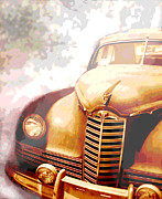 Rusted Cars Posters - Classic Car 1940s Packard  Poster by Ann Powell