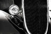 Monochrome Hot Rod Posters - Classic Car Grille Black and White Poster by M K  Miller