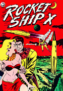 Spaceships Prints - Classic Comic Book Cover - Rocket Ship X - 1225 Print by Wingsdomain Art and Photography