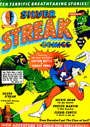 Crimes Photo Prints - Classic Comic Book Cover - Silver Streak Comics Captain Battle - 0250 Print by Wingsdomain Art and Photography
