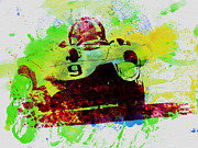 Italian Classic Cars Prints - Classic Ferrari on Race track Print by Irina  March