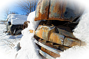 Old Ford Prints - Classic Ford Pickup Truck in the snow Print by Edward Fielding