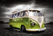 Vw Camper Van Framed Prints - Classic green VW Campavan Framed Print by Ian Hufton