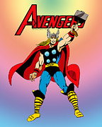 Classic Digital Art Originals - Classic Mighty Thor by Mista Perez Cartoon Art