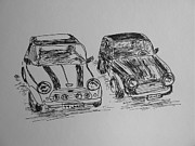 European Cars Drawings Posters - Classic Minis Poster by Victoria Lakes