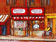 Outdoor Cafes Posters - Classic Montreal Painting Schwartz Deli Storefront Window With Chef And Red Peppers Circa 1960   Poster by Carole Spandau