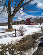 Red Barn. New England Framed Prints - Classic New England Farm Scene Framed Print by Edward Fielding
