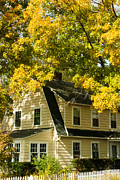 Yellow Leaves Prints - Classic New England House in the Fall Print by Robert Ford