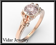 Romantic Rose Jewelry - Classic Pink Morganite Solitaire 14k Rose Gold Engagement Ring by Roi Avidar