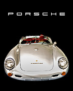New Car Prints - Classic Porsche Silver Convertible Sports Car Print by Edward Fielding