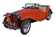 Small Convertible Posters - Classic Red MG TC Convertible British Sports Car Poster by Keith Webber Jr