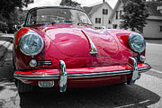 Emblem Prints - Classic Red Porsche sports car Print by Edward Fielding