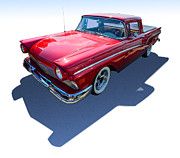 Grill Digital Art Metal Prints - Classic Red Truck Metal Print by Sanely Great