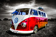 Vw Camper Van Framed Prints - Classic red VW Campavan Framed Print by Ian Hufton