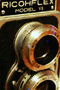 Camera Lens Framed Prints - Classic Ricohflex Camera - 20130117 - Painterly Framed Print by Wingsdomain Art and Photography
