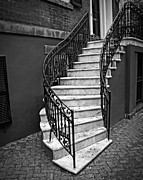 Black White Photography Digital Art Framed Prints - Classic Staircase Framed Print by Perry Webster