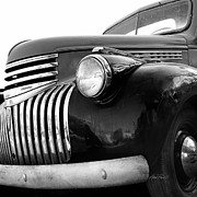 Classic Truck Photos - Classic Truck Grill black and white photograph by Ann Powell