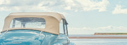 Classic Vintage Morris Minor 1000 Convertible At The Beach Print by Edward Fielding