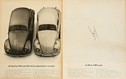 Volkswagen Beetle Framed Prints - Classic Volkswagen Beetle Vintage Advert Framed Print by Nomad Art And  Design