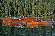 Mahogany Prints - Classic Wooden Boats at Lake Tahoe Print by Steven Lapkin