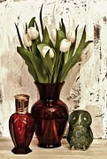 Owl Print Prints - Classy Tulips Bouquet Print by Marsha Heiken