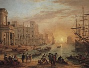 Soleil Couchant Prints - Claude Lorrain 1600-1682. Seaport Print by Everett