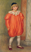 Full-length Portrait Framed Prints - Claude Renoir in a Clown Costume Framed Print by Pierre Auguste Renoir
