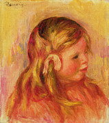 Toddler Portrait Paintings - Claude Renoir by Pierre Auguste Renoir