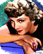 Motion Picture Star Prints - Claudette Colbert Print by Allen Glass