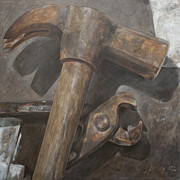 Hammer Paintings - Claw hammer and pliers by Anke Classen