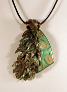 Polymer Jewelry - Clay and Leather Pendant by P Russell