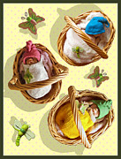 Baskets Mixed Media Framed Prints - Clay Babies in Baskets Framed Print by Joyce Geleynse