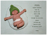 Polymer Clay Posters - Clay Baby With Bedtime Prayer Poster by Joyce Geleynse