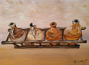 Wine Holder Art - Clay Jugs in a Row by Brenda Brown